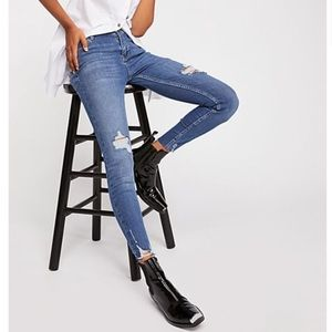 Free People Shark Bite High Rise Skinny Rip Jeans